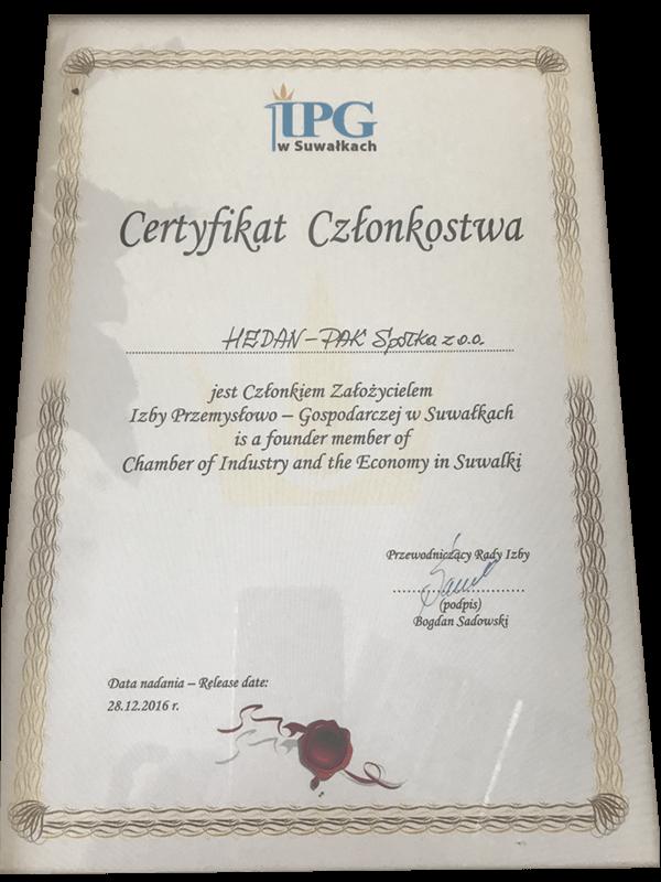 Certyfikat Hedan Pak
